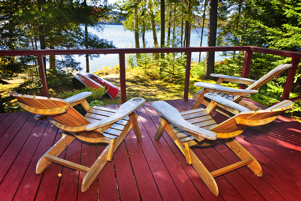 Muskoka chairs in a cottage by the lake, Consider propane for the cottage